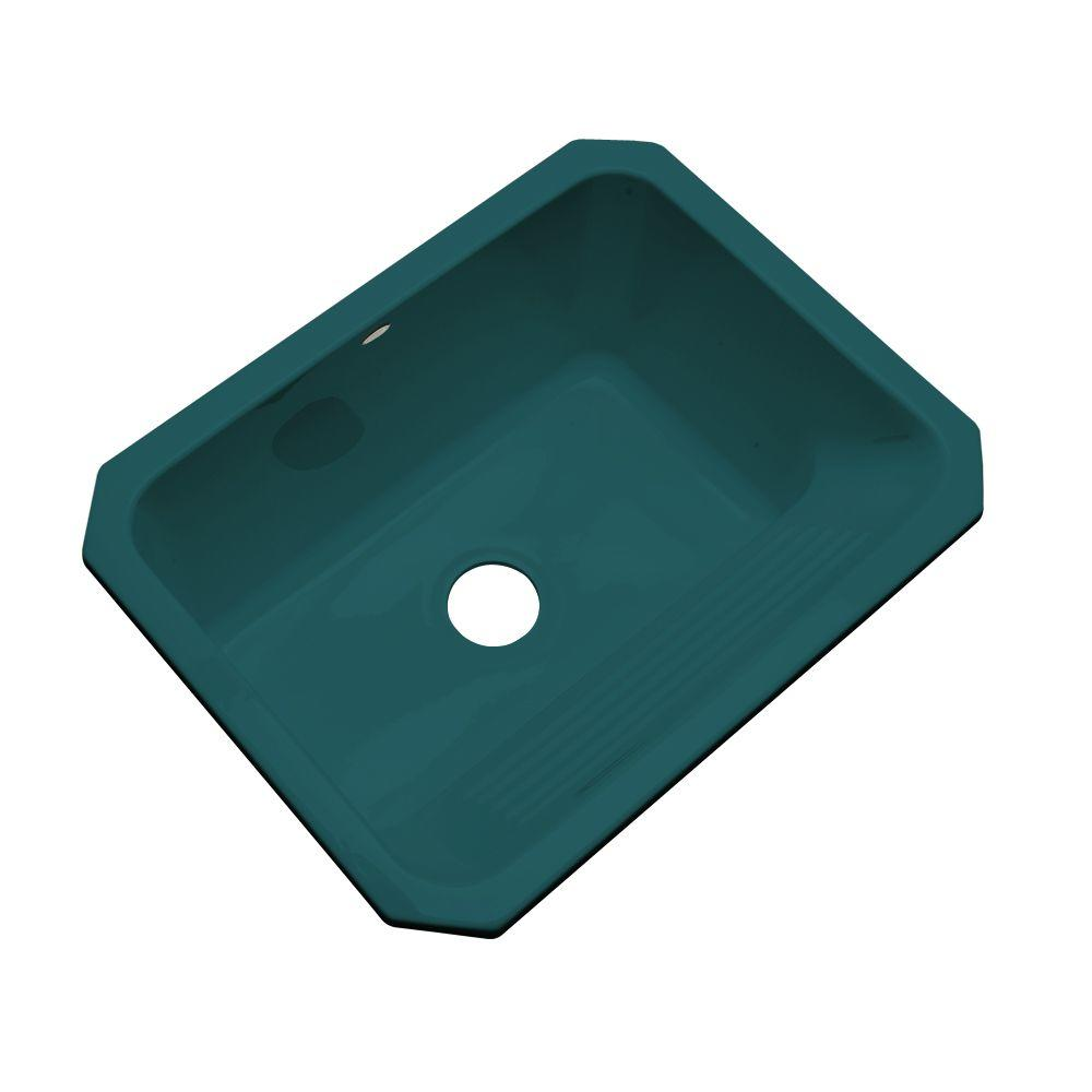 Thermocast Kensington Undermount Acrylic 25 in. Single Bowl Utility Sink in Teal