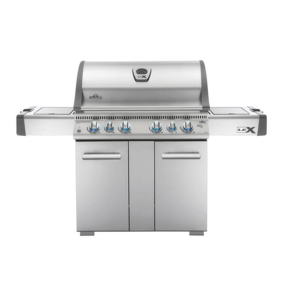 NAPOLEON LEX 605 with Side Burner and Infrared Bottom and Rear Burners Natural Gas Grill in Stainless Steel