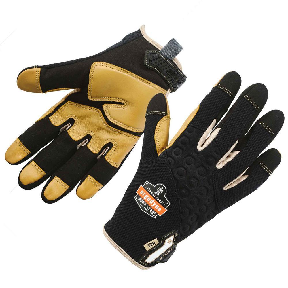 ProFlex Small Gray Heavy-Duty Leather-Reinforced Work Gloves