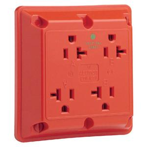 leviton 20 amp hospital grade extra heavy duty grounding 4 in 1 outlet red 21254 hr the home. Black Bedroom Furniture Sets. Home Design Ideas