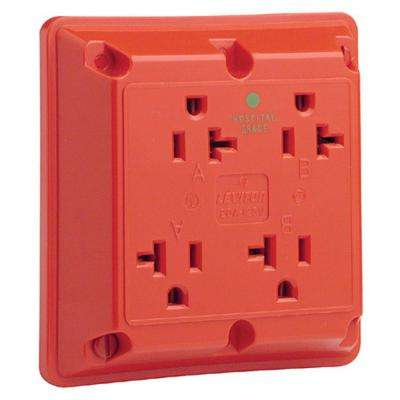 20 Amp Hospital Grade Extra Heavy Duty Grounding 4-in-1 Outlet, Red