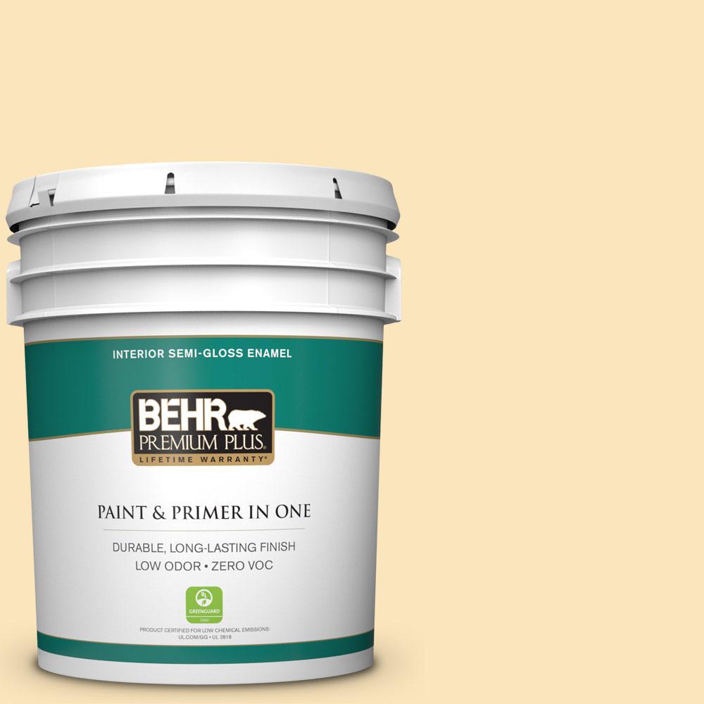 BEHR Premium Plus 5 gal. #350C-2 Banana Cream Semi-Gloss Enamel Zero VOC Interior Paint and Primer in One