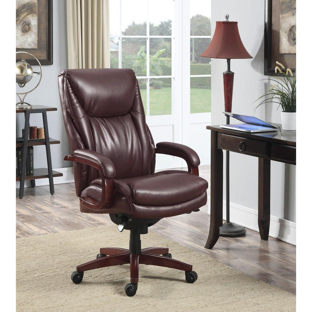 La Z Boy Edmonton Coffee Brown Bonded Leather Executive Office Chair