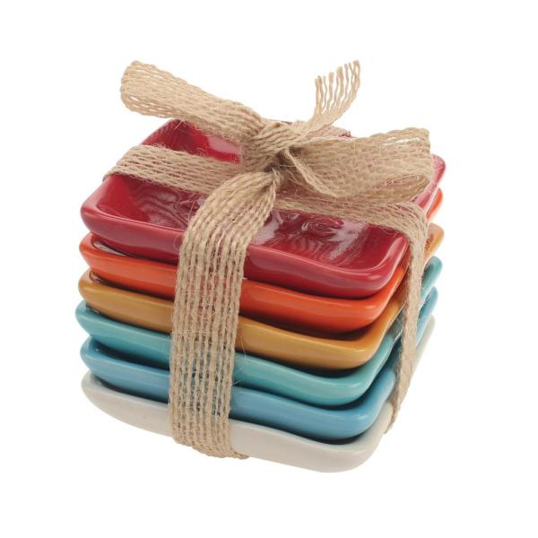 3 in. x 3 in. Assorted Color Ceramic Plates (6-Pack)