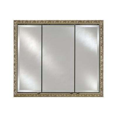 Signature Triple Door 34 in. x 30 in. Recessed or Optional Surface Mount Medicine Cabinet in Valencia Gold