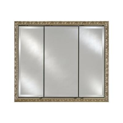Signature Triple Door 38 in. x 30 in. Recessed or Optional Surface Mount Cabinet in Valencia, Gold