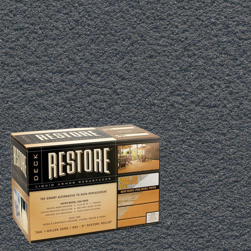 Restore Deck Liquid Armor Resurfacer 2 gal. Kit Water Based Pewter Exterior Coating