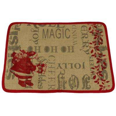 13 in. H x 18 in. W Saint Nick Christmas with Printed Burlap Collection Placemat