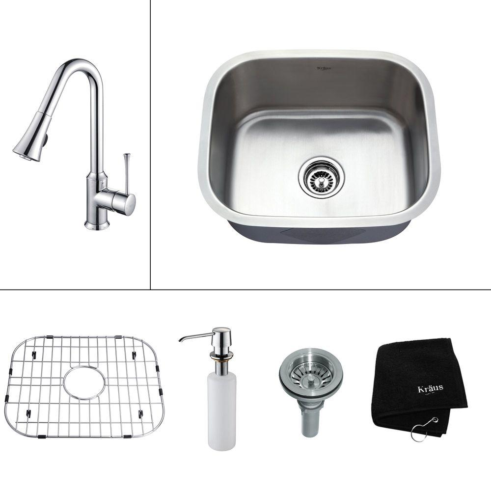 KRAUS All-in-One Undermount Stainless Steel 20.75x17.75x15.5 0-Hole Single Bowl Kitchen Sink w/ Faucet in Chrome-DISCONTINUED