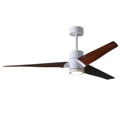 Super Janet 60 in. LED Indoor/Outdoor Damp Gloss White Ceiling Fan with Light with Remote Control, Wall Control