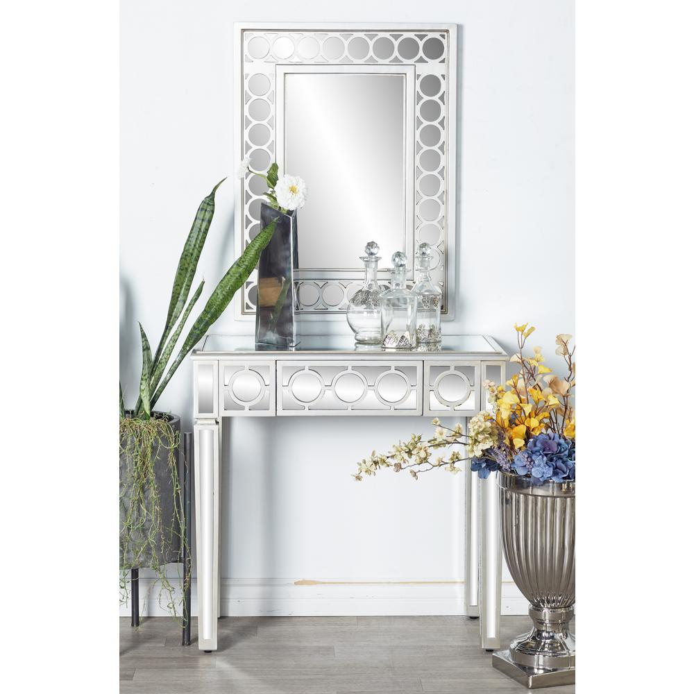 White Wall Mirror And Console Table Set 58753 The Home Depot