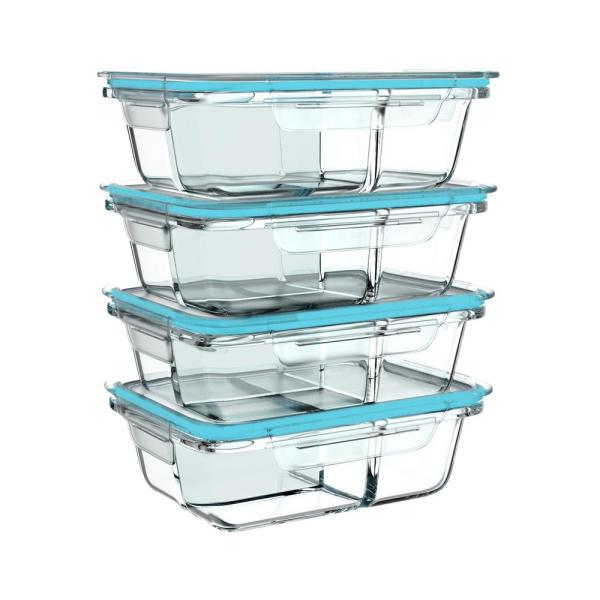 Classic Cuisine 8-Piece Glass Food Storage Containers with Snap Shut Lids