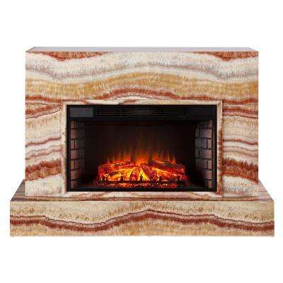 Mendelyn 57 in. TV Stand Electric Fireplace in Sandstone
