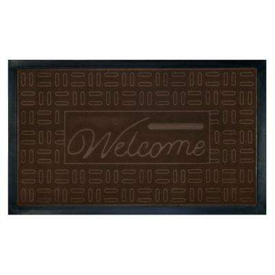 Parquet Coffee 18 in. x 30 in. Rubber and Poly Door Mat