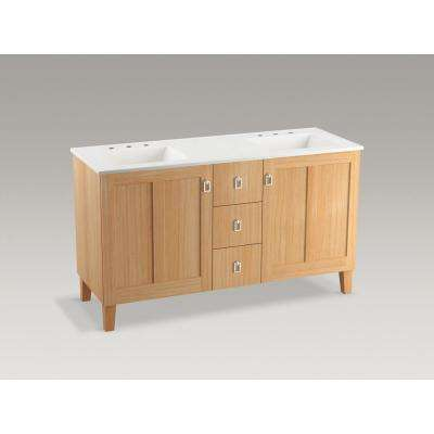 Poplin 60 in. W Vanity in Khaki White Oak with Marble Vanity Top in Carrara with White Basins