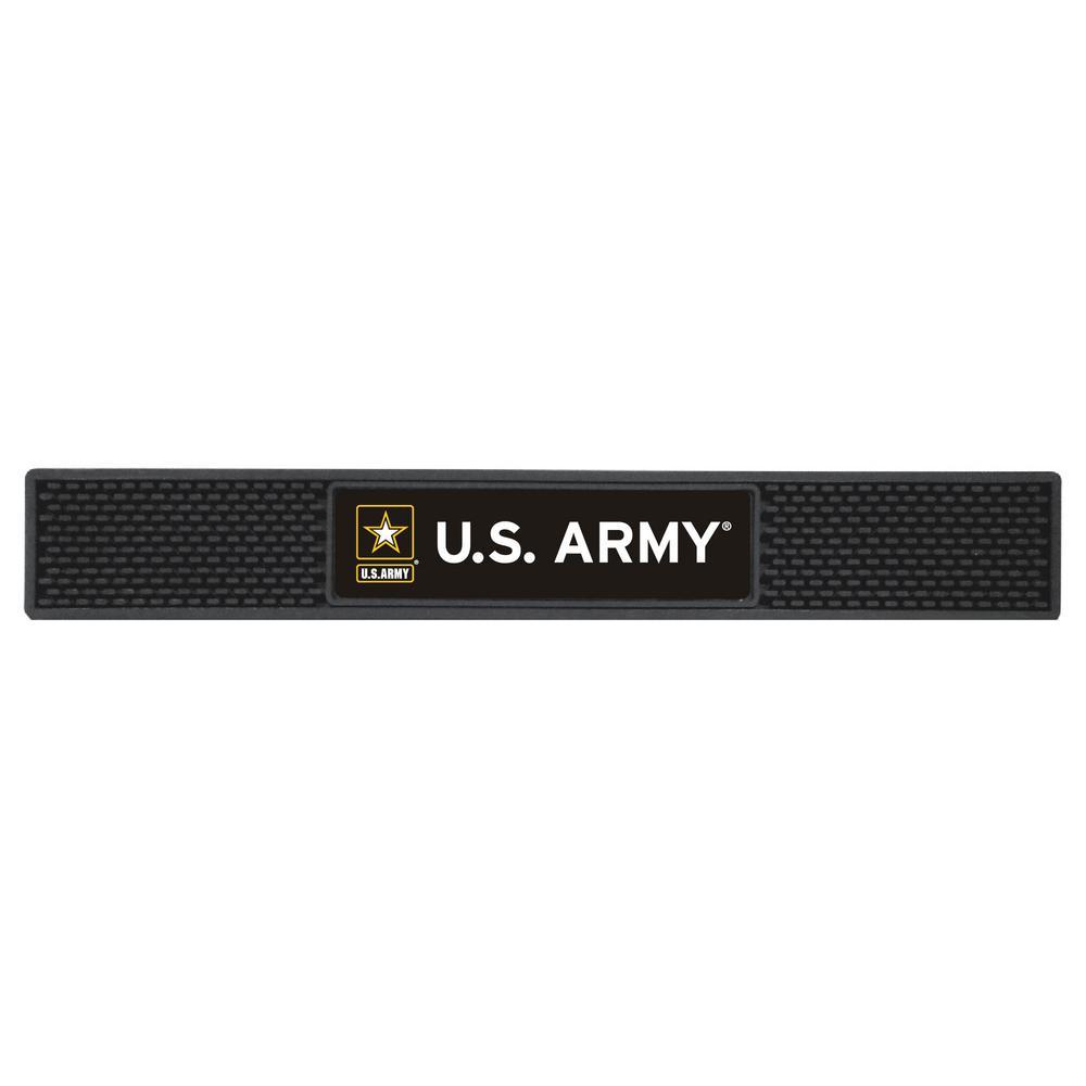 U.S. 3.25 in. x 24 in. Black Army Drink Mat