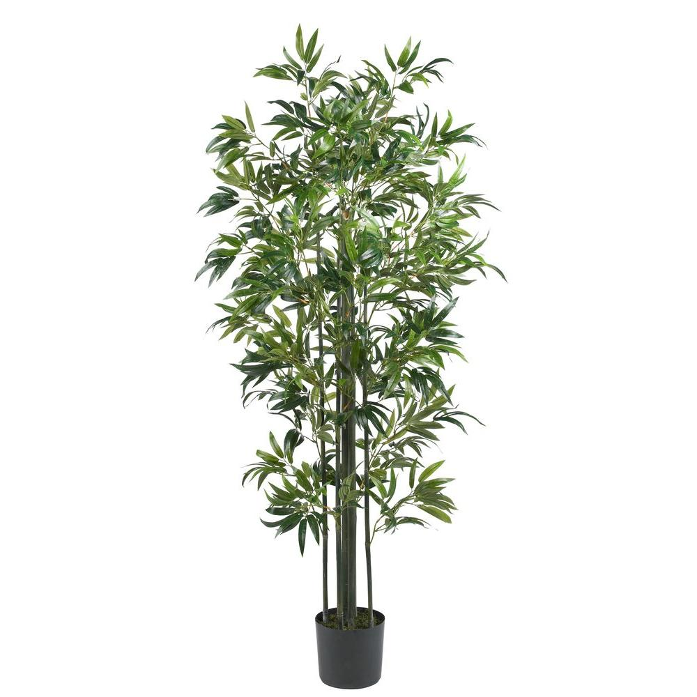 Nearly Natural 6 ft. Bamboo Silk Tree (Green Trunks)