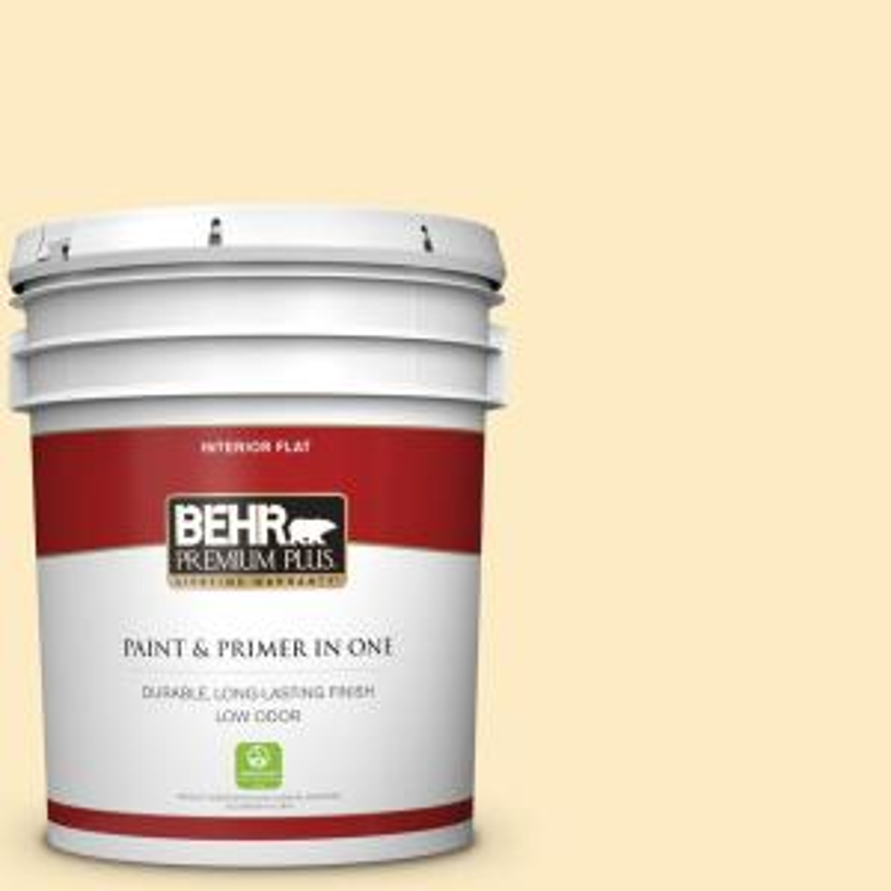 Behr Premium Plus 5 Gal P260 2 Yogurt Flat Low Odor Interior Paint And Primer In One 105005 The Home Depot