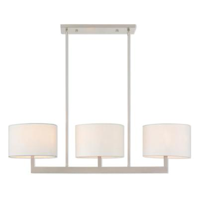 Hayworth 3-Light Brushed Nickel Linear Chandelier with Off-White Fabric Outside  and  White Fabric Hardback Shade Inside