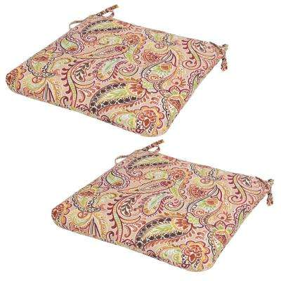 Chili Paisley Outdoor Seat Cushion (Pack of 2)