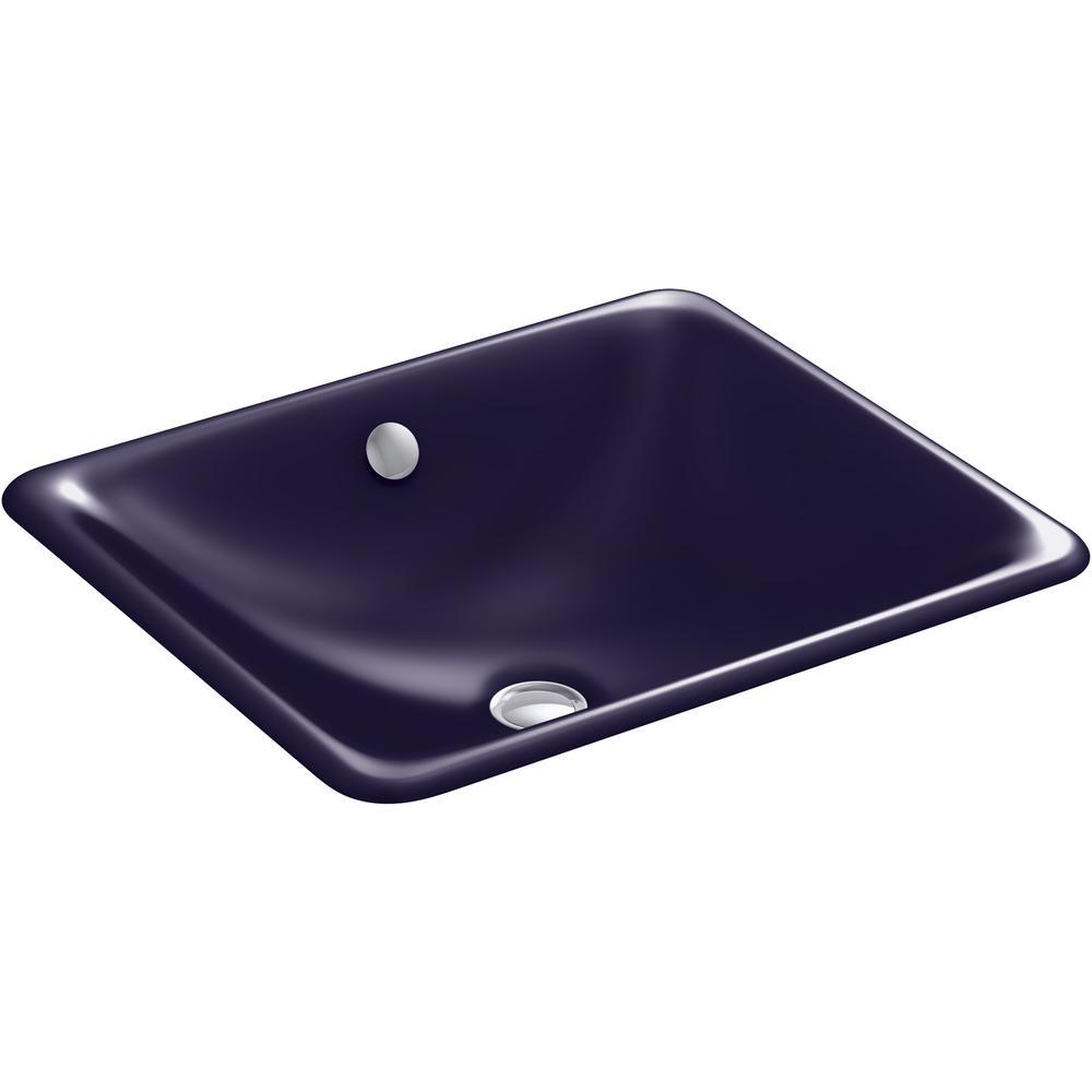 Iron Plains Drop-in Bathroom Sink in Indigo Blue