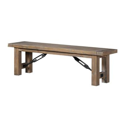 15 in. L x 62 in. W x 18 in. H Brown Acacia Wood Bench with Thick Block Legs