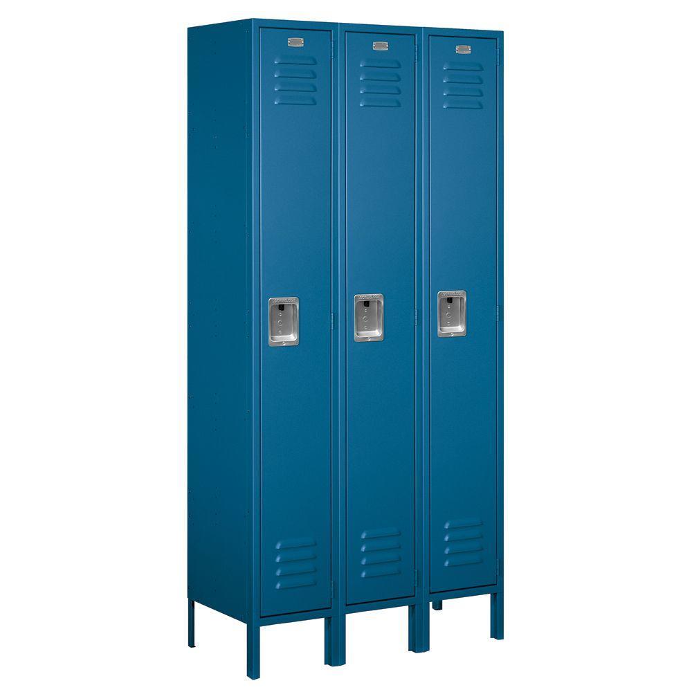 61000 Series 36 in. W x 78 in. H x 15 in. D Single Tier Metal Locker Unassembled in Blue