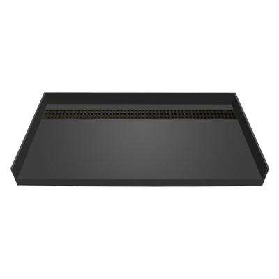 32 in. x 63 in. Barrier Free Shower Base in Gray with Back Drain and Oil Rubbed Bronze Trench Grate