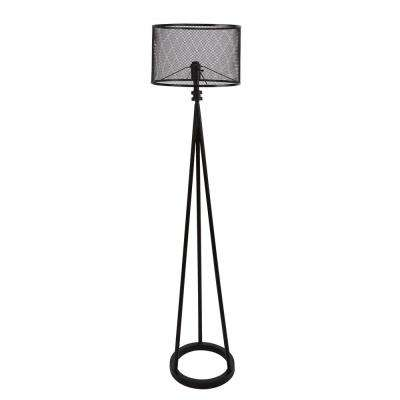 64 in. Woodruff Industrial Tripod Black Floor Lamp with Shade