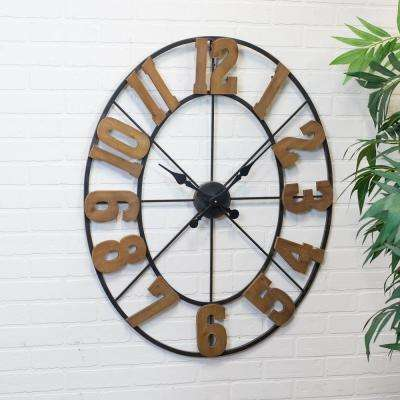 Metal Clock with Wood Number Wall Clock