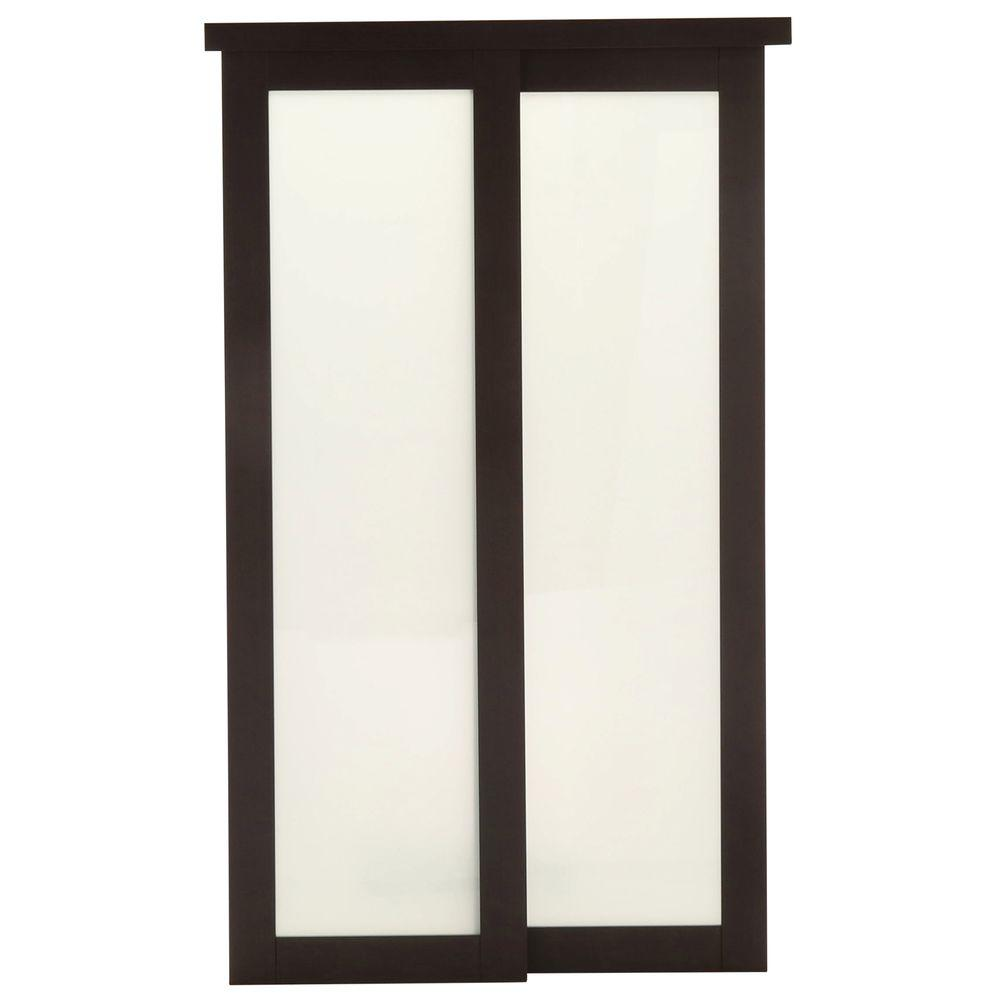 TRUporte 48 in. x 80 in. 2230 Series Espresso 1 Lite Composite Universal Grand Sliding Door