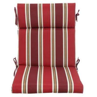 21.5 in. x 20 in. Standard Chili Stripe Outdoor Dining Chair Cushion