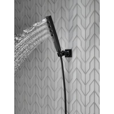 Zura 5-Spray 1.3 in. Single Wall Mount Handheld H2Okinetic Shower Head in Matte Black