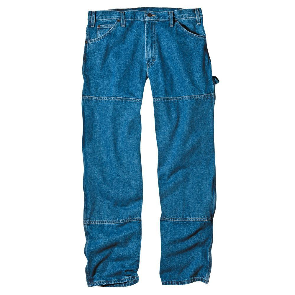 Dickies Relaxed Fit 32 in. x 30 in. Denim Double Knee Carpenter Jean Indigo Blue-DISCONTINUED