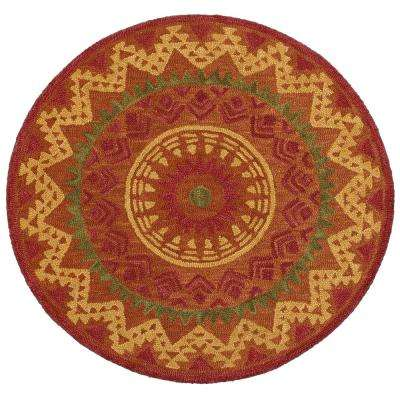Dazzle Chevron Rust 4 ft. x 4 ft. Indoor Round Area Rug