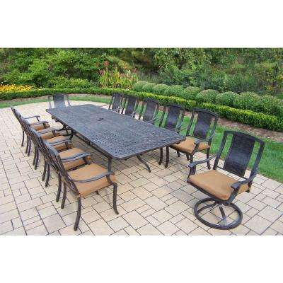 Extendable Cast Aluminum 13 Piece Rectangular Patio Dining Set With  Sunbrella Cushions