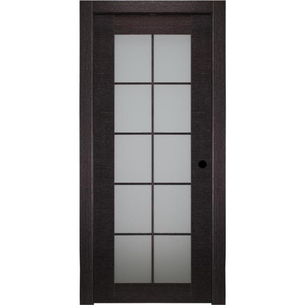 Belldinni 24 In X 80 In Avanti Black Apricot Left Hand Solid Core Wood 10 Lite Frosted Glass Single Prehung Interior Door 110981 The Home Depot