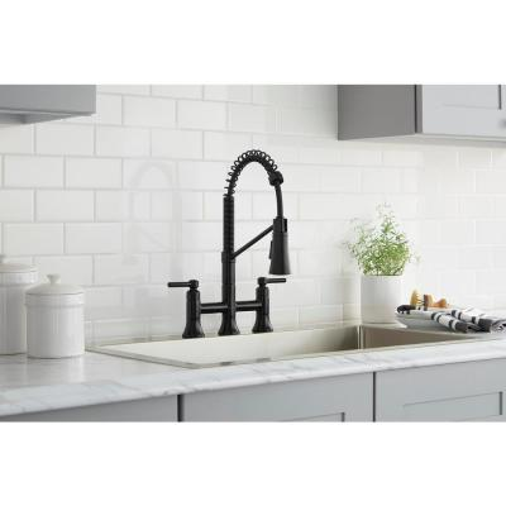 Pritchard Two-Handle Spring Neck Pull-Down Sprayer Bridge Kitchen Faucet in Matte Black