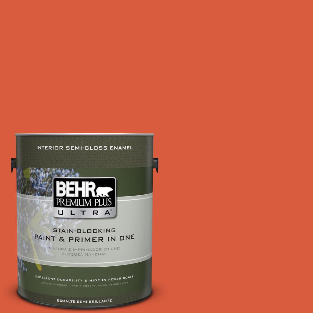 1 gal. #200B-7 Fireglow Semi-Gloss Enamel Interior Paint and Primer in