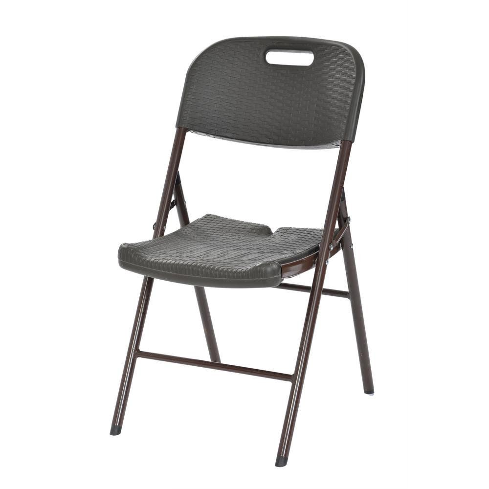 White plastic folding chairs - Brown Folding Steel Plastic Utility Chair 4 Pack