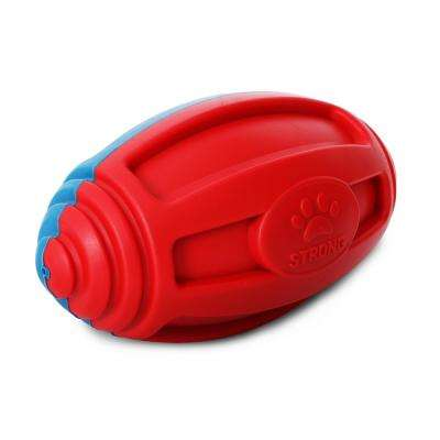 Red and Blue Gridiron Football Durable Water Floating Chew and Fetch Dog Toy
