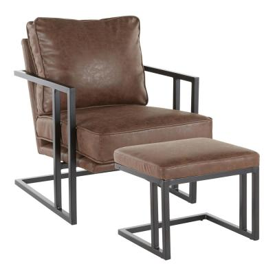 Espresso Faux Leather and Black Metal Roman Industrial Lounge Chair with Ottoman