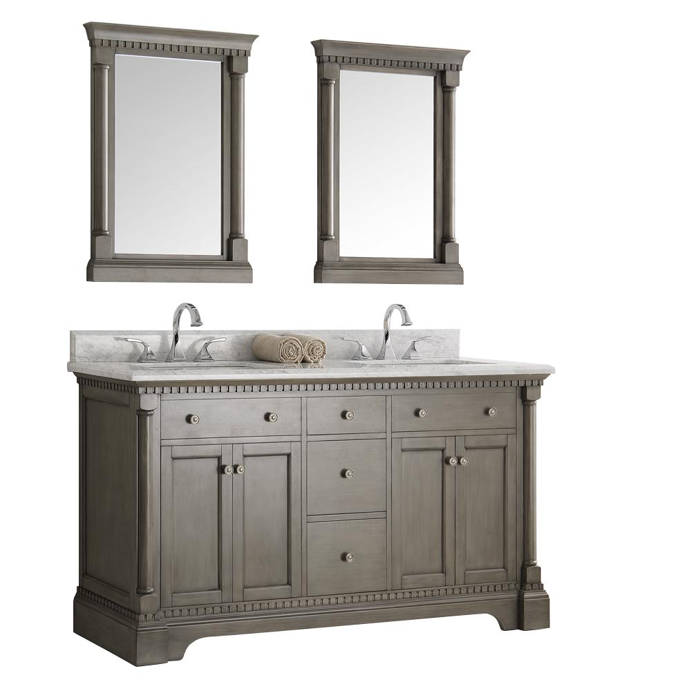 Fresca Kingston 60 in. Vanity in Antique Silver with Marble Vanity Top in Carrera White with White Ceramic Basins and Mirror