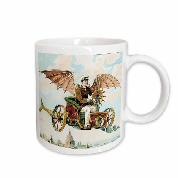 96f7366d 3dRose Dooni Designs Steampunk Designs Vintage Steampunk Flying Machine  Dirigible Design 11 oz. White Ceramic