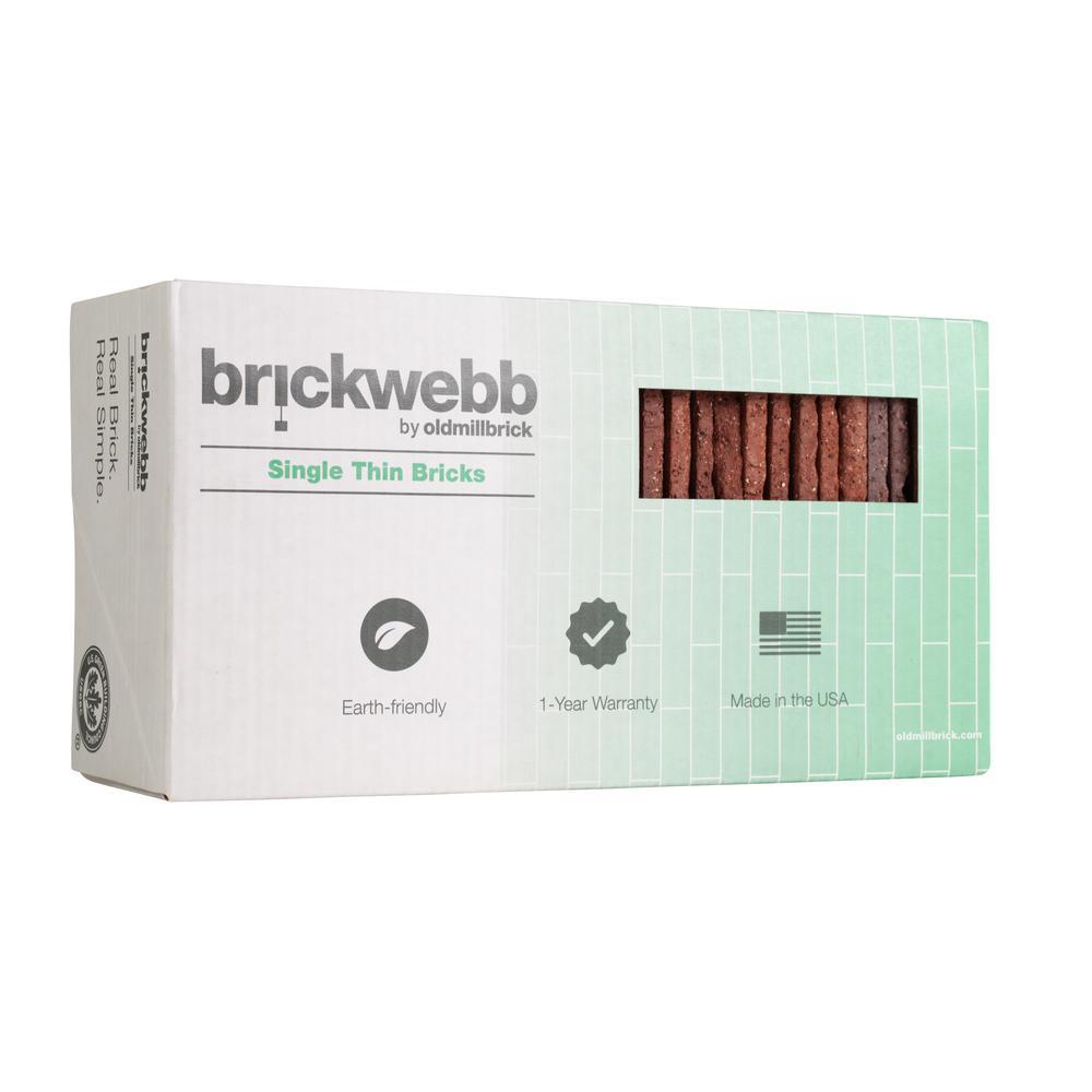 Brickwebb Single Flats Boston Mill 7.625 in. x 2.25 in. x 13mm Clay Single Thin Bricks Tile (7.3 sq. ft. / case)