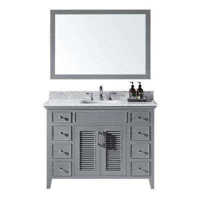 Elise 48 in. W x 22 in. D x 34.21 in. H Bath Vanity in Taupe Grey w/ White Marble Vanity Top w/ White Basin and Mirror