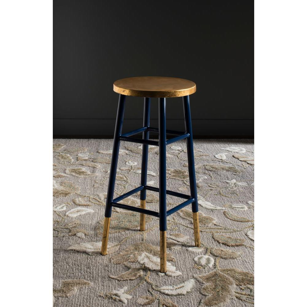 Safavieh Emery 30 In Navy And Gold Bar Stool Fox3230a