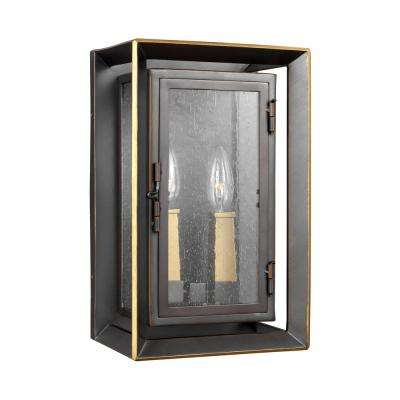 Urbandale 2-Light Antique Bronze/Painted Burnished Brass Outdoor Wall Lantern