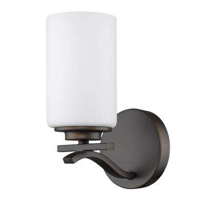 Poydras 1-Light Oil-Rubbed Bronze Sconce with Etched Glass Shade
