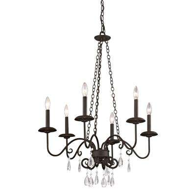La Rochelle 6-Light Cottage Bronze Chandelier with Crystal Accents